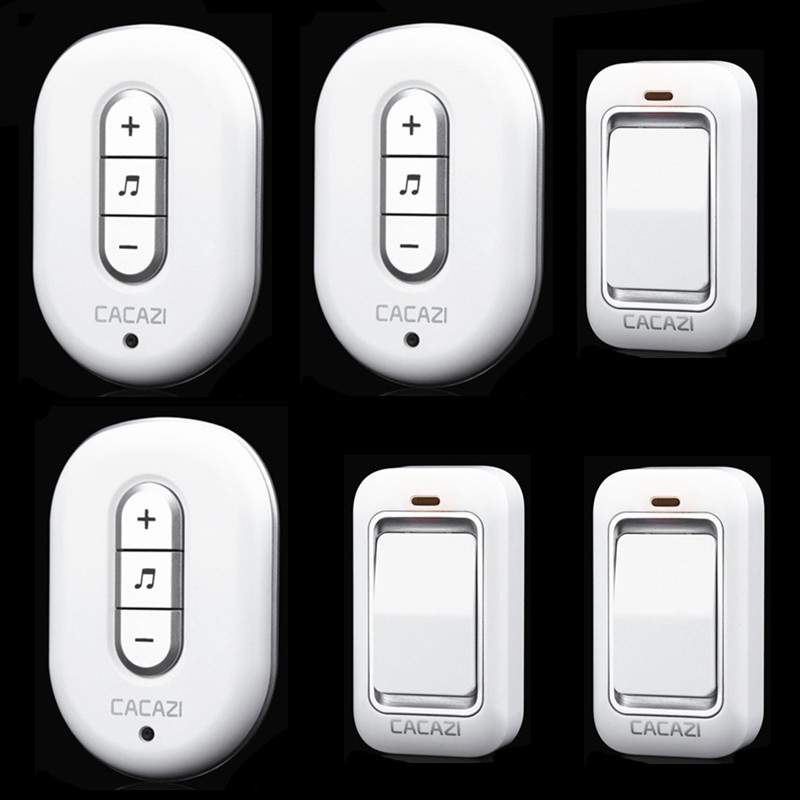 ФОТО 3 doorbell buttons+3 doorbell receivers 100M remote control AC 110-240V Waterproof button need batteryWireless doorbell