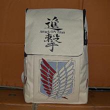 New OEM printed unisex flap cover zipper closure cartoon successful wing character attack on titan bag