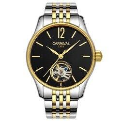 Klasyczny styl szkielet mężczyźni automatyczny zegarek karnawał biznes mechaniczne zegarki stal 100m wodoodporny Relogio Masculino