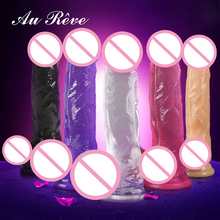 Au Reve Huge Realistic Suction Cup Dildo 5 Colors 3 Size Artificial Penis Cock Dick Sex Toys for Women Free Shipping