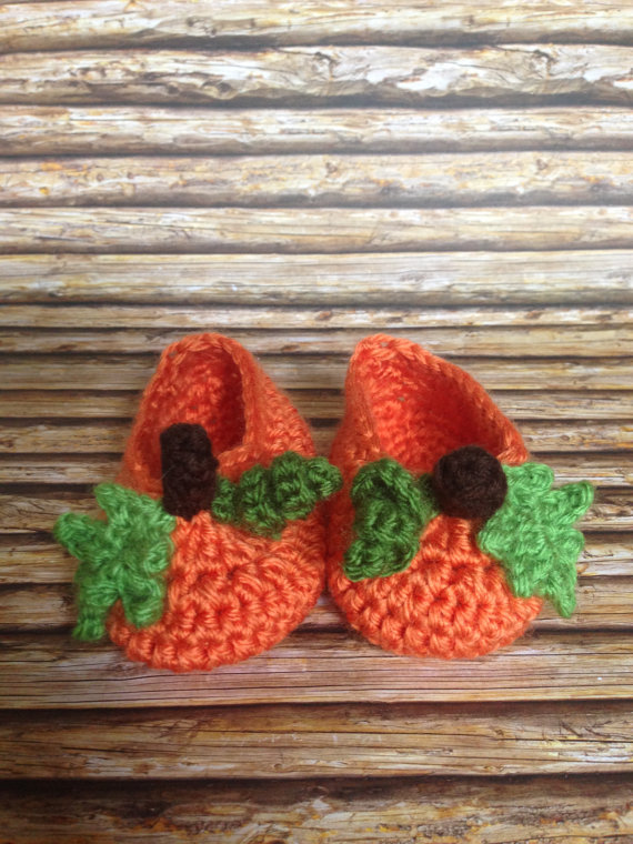Knit Pumpkin Baby Crochet Booties Halloween Baby Booties Slouch Baby Booties Newborn Socks Shoes Slippers