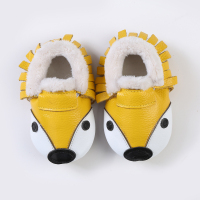 Genuine Leather Rubber Sole Baby Girls Shoes Winter Fox Crib Shoes First Walker