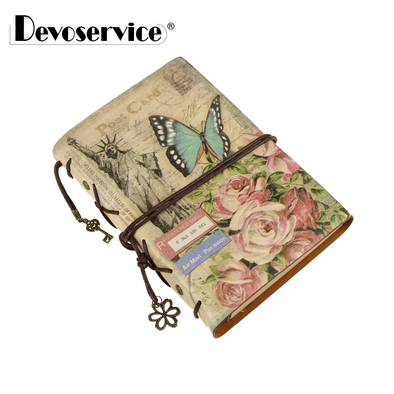 Retro Style Faux Leather Notebooks - Spiral Bound Blank Kraft Paper Notebook Paper Traveler Notepad Daily Memo Pad - 200 Sheets