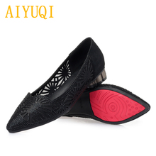 Купить с кэшбэком AIYUQI 2019 spring new microfiber leather women shoes, hollow large size 42 43 rhinestone pointed hole eye fashion shoes women