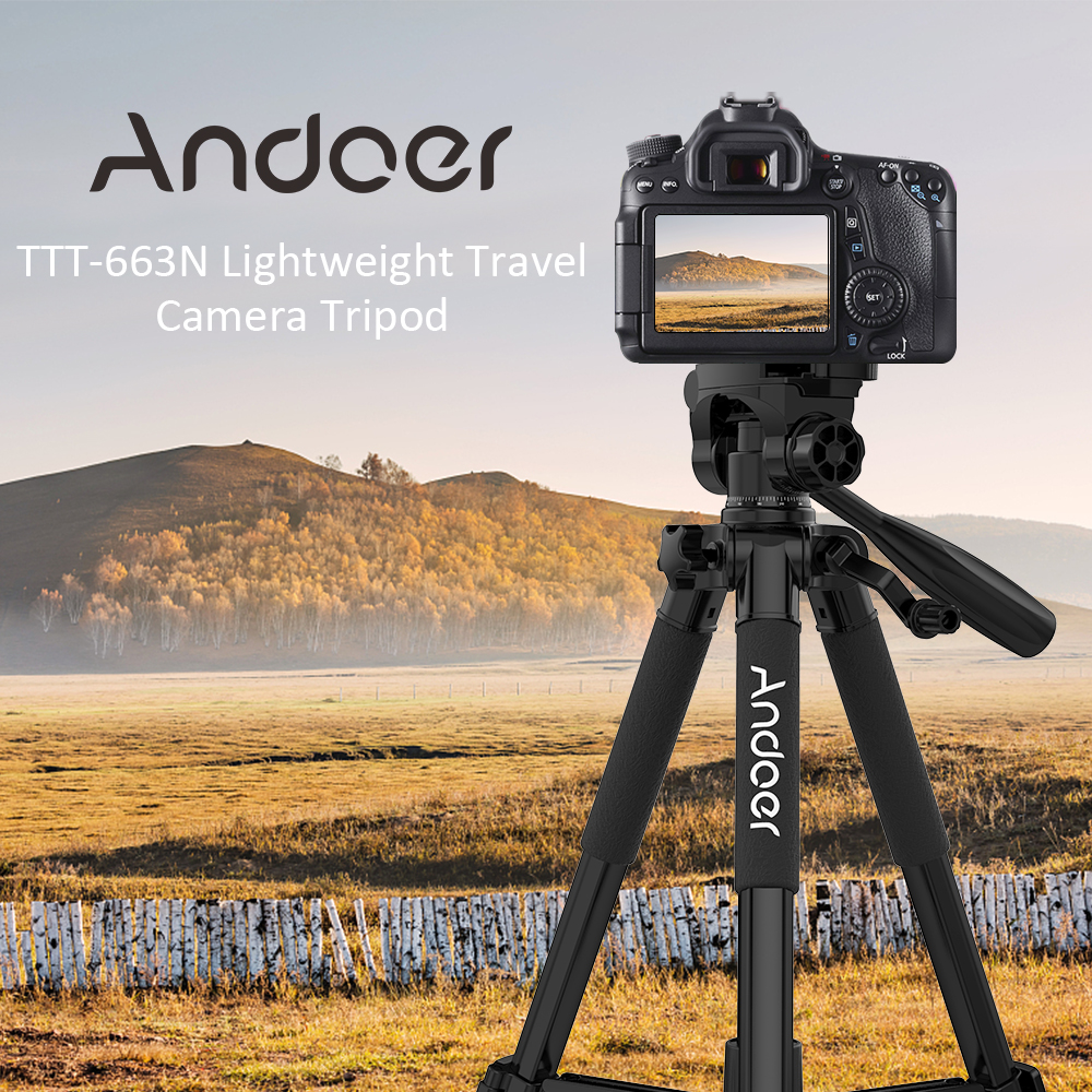 Andoer TTT-663N Camera Tripod for Canon Nikon Sony Photography Video Shooting DSLR SLR Camera Travel Tripod w/ Carry Bag