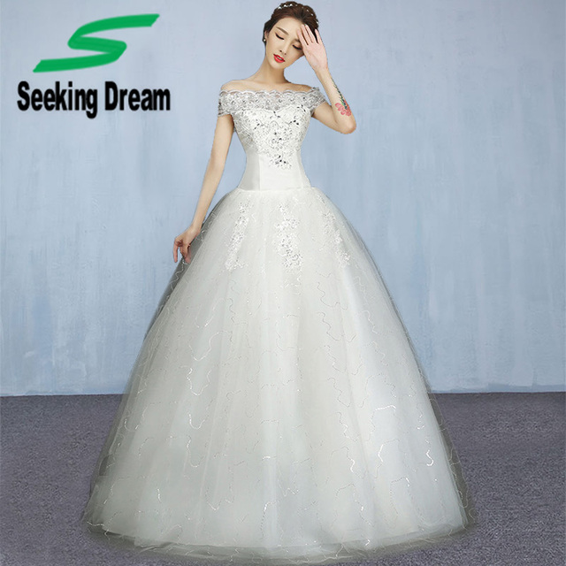 Wedding Gown Korean Style: New Korean Style White Ball Gown Dress Off Shoulder Floor