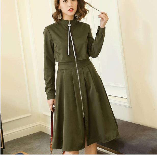 Women Lady Slim Midi Dress Full Zip Front Turtleneck Long Sleeve Spring Autumn Dress Solid Black/Army Green/Khaki/Apricot RQ22