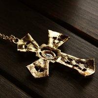 GENBOLI Pendant Necklace Vintage Brand Gold Color Jewelry Antique Cross Crucifix Jesus For Women Sweater Chain