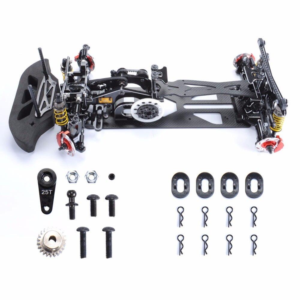 1/10 Scale Black Car Frame Kit G4 Alloy & Carbon Fiber Drift Frame RC 4WD Drift Racing Car Accessory 1 10 scale rc drift frame kit 4wd 646801r1 rc body drift racing car