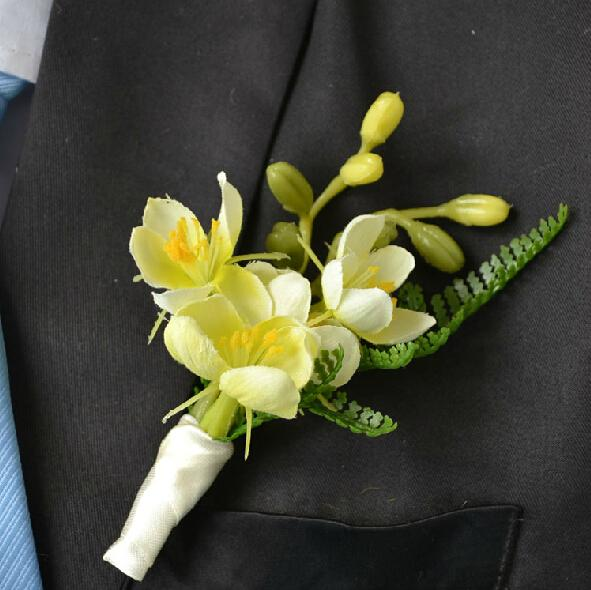 4 pcs/ lot New DIY calla lilies Corsage Fashion Orchid Grooms men Boutonniere pin brooch yellow Style Wedding party decor C15