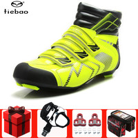 Tiebao inverno sapatos de ciclismo estrada adicionar pedal conjunto respirável ao ar livre atlético sapatos bicicleta corrida sapatos zapatos|Sapatos de ciclismo| |  -