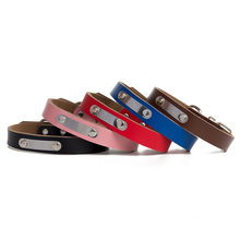 Pet Collar Label Small Medium Large Dogs Padded Dog Collars Personalized Custom Leather Adjustable Size durable Supplies