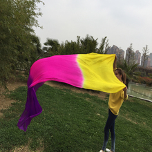 2016 New 250*114cm 100% chinese real silk dancing Veils nice color square dance Veils free shipping