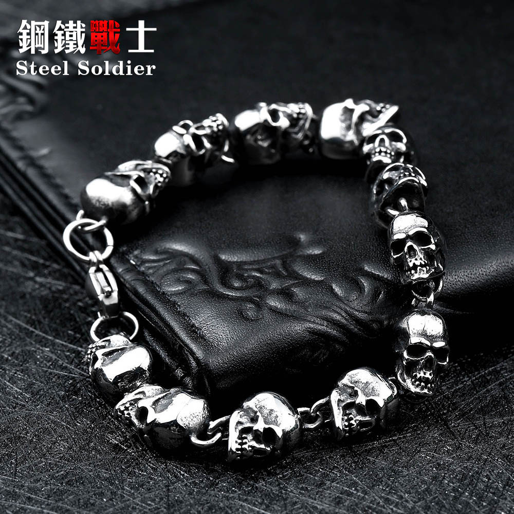 Stainless steel new design men punk skull chain bracelet men fashion stainless steel charm bracelet jewelry opk biker stainless steel men bracelet
