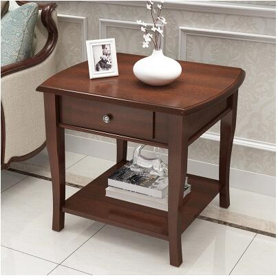 American Solid Wood Sofa Side Table Simple Living Room
