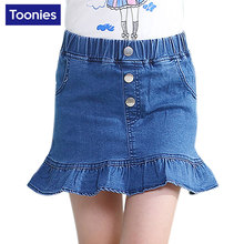 2017 Summer Jeans New Korean Children's Clothing Baby Girl Skirts Denim Button Design Cute Fashion Elegant Pocket Skirt Girls
