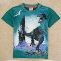 Crianças meninos de roupas t-shirt das crianças mundo jurássico dinossauro tiranossauro rex camisa com mangas curtas sobre a roupa nova do menino