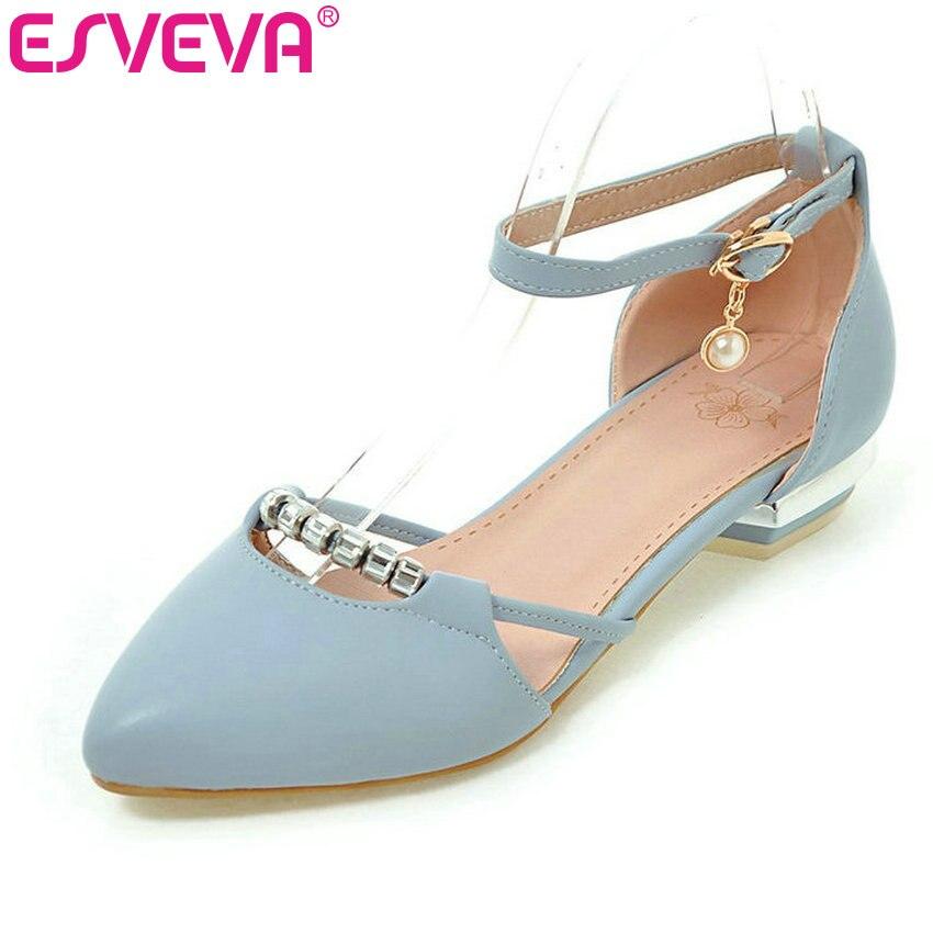 ESVEVA 2017 Ankle Strap Women Pumps Summer Dating Women Shoes Pointed Toe Square Low Heel PU Woman Wedding Shoes Plus Size 34-43