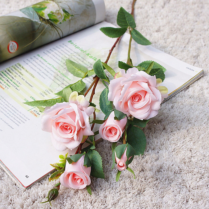 2019 Korean Dreamy Rose Branch Silk Artificial Flowers Valentine's Day Wedding Flores
