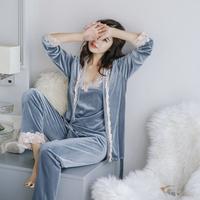 Voplidia Autumn three-piece   Set   Sexy Bathrobe Women 2017   Pajamas     Set   New Nightgown   Set   Sleepwear   Pajamas   Pijama Feminino Pyjama