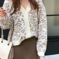 Women Autumn Winter Leopard Cardigan Thick Sweater Female Long Sleeve Loose Oversized Outer Knitted Coat Manteau Femme Hiver