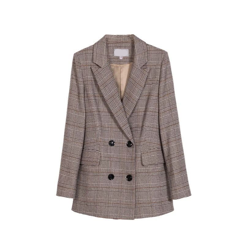 New High Quality Women Gray Plaid Office Lady Blazer Jacket Fashion Notched Collar Work Suit Elegant Work Blazers Feminino WT129