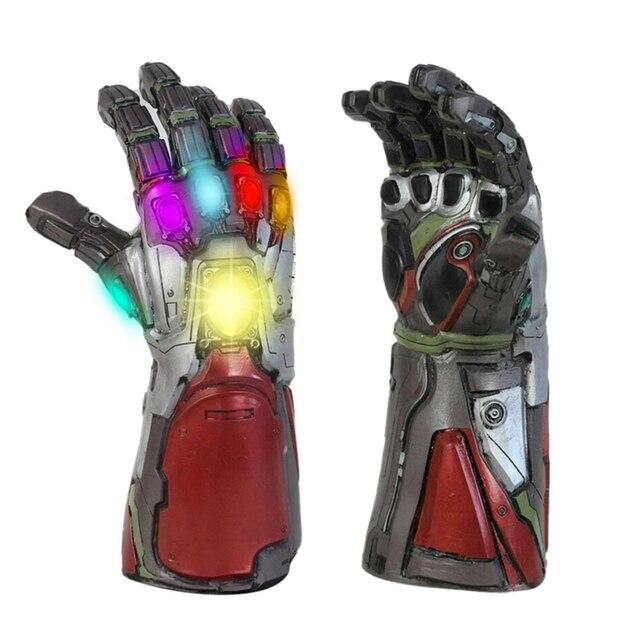 LED Endgame de Super-heróis Vingadores Homem De Ferro Tony Stark Thanos Infinito Pedra Cosplay LED Luvas De Látex Mão Gauntlet Cosplay Adereços