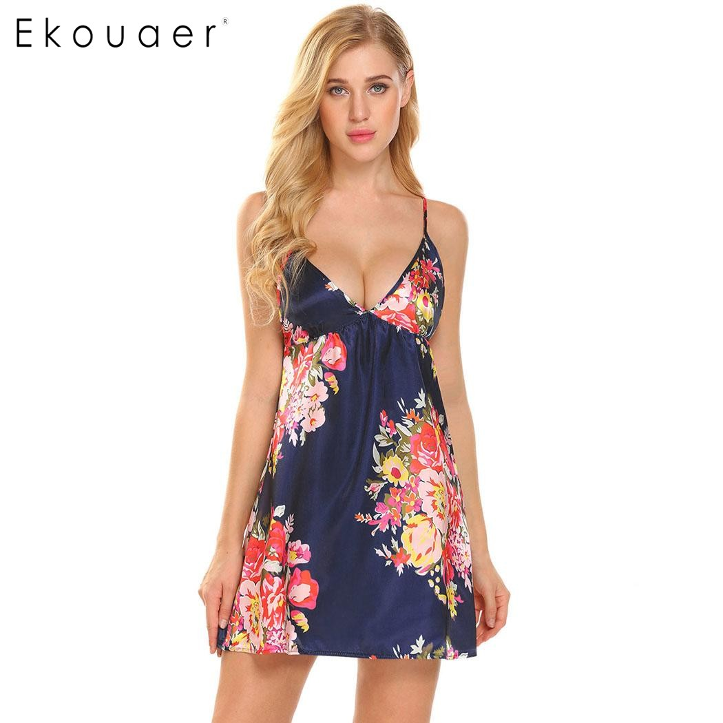 Ekouaer Summer Sleep Nightgown Women Sexy Spaghetti Strap V-Neck Floral Satin Chemise Sleepwear Nightdress Sleepshirt Nighty