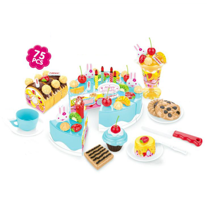 Do Dower 75pcs 2 Colors Hook&Loop Sound Cake Pretend Role Play Kitchen Food Cutting Gift Set For Children Education Kids Toys