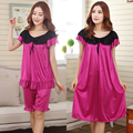 Free Shipping 2015 Women Summer Plus Size Ice Silk Nightgown Female Large Size Short Sleeve sleepwear Set and Homewear Dress