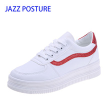 Leather Women Sneakers White Shoes Platform Lace Up Woman Casual Shoes Thick Heels Spring Autumn Female Flats Size 35-39 y054