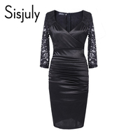 Sisjuly Vintage Party Dress Women Lace Hollow Pleated V Neck Dress Three Quarter Sleeves Bodycon Sexy