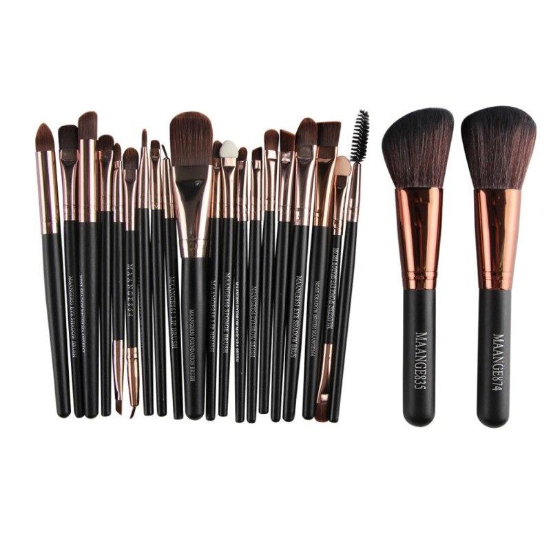 Nützlich Natürlichen 22 teile/satz Foundation Lidschatten Eyeliner Lip Kosmetik Pinsel Kit Pro Make-Up Pinsel Set Pulver Neue