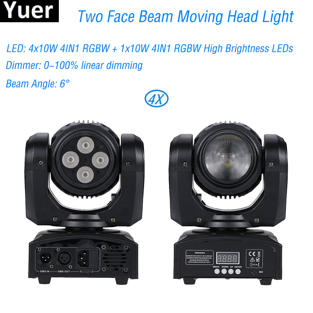 LED Two Face Beam Moving Head Light Two Effect Disco Stage Lighting RGBW 4IN1 LED DMX512 Wash Beam Disco DJ Party Stage Lights 2pack 132w beam moving head dj disco party stage lights high power 2r 132w stage beam effect moving head light free shipping