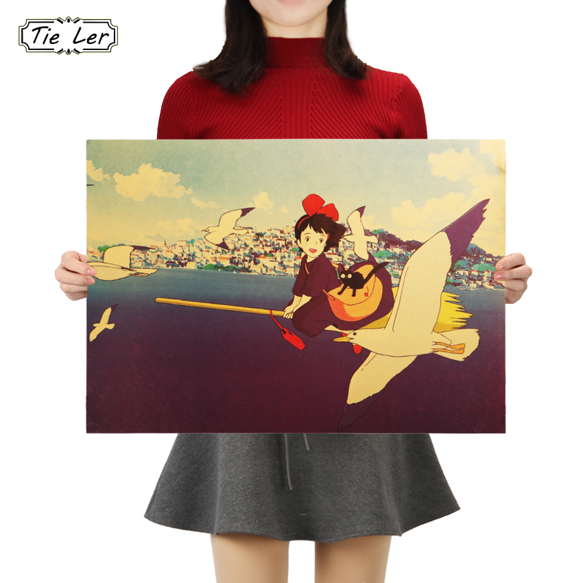 TIE LER Classic Cartoon Movie Poster Kikis Delivery Service B Style Kraft Paper Poster Retro Wall Stickers Home Decor 50.5X35cm