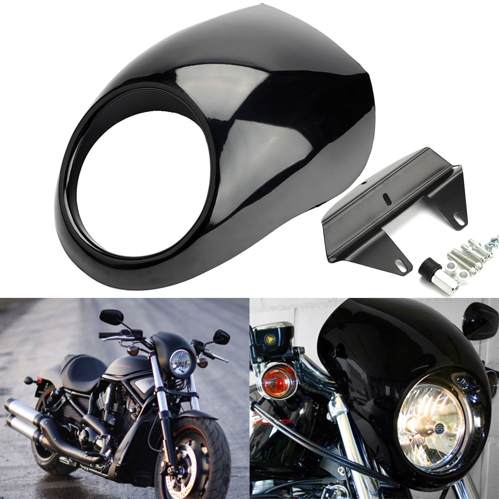 Motorcycle Front Headlight Fairing Cowl For Harley V ROD Dyna FX Sportster XL Black black smoke gauntlet fairing front cowl fork headlight custom mask for harley sportster dyna xl1200l xl883c undefined