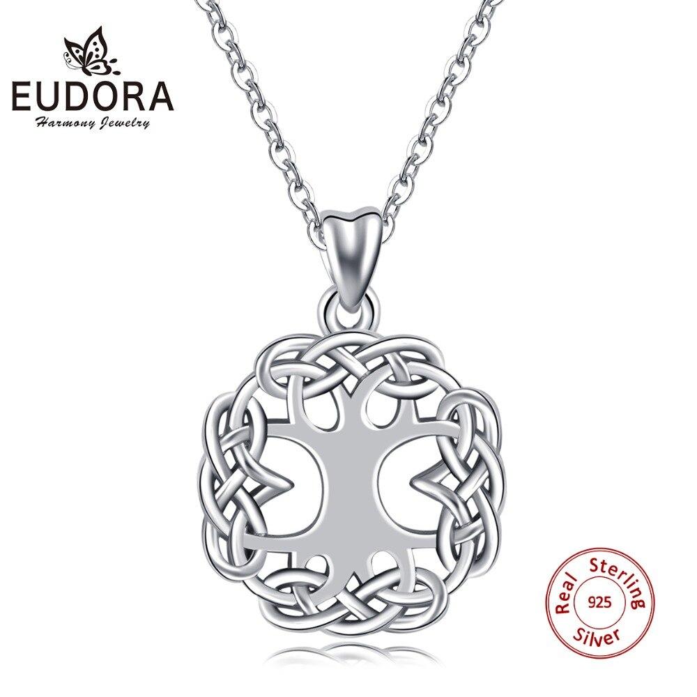 EUDORA 925 Sterling Silver Tree of Life Pendant Necklace Irish Celtics Knot Crann Bethadh Style Necklaces Women Jewelry KYD192
