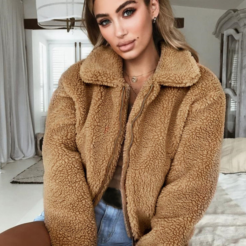 Autumn Winter Women Jacket Coat Turn Down Collar Soft Zipper Female Jacket Fashion Casual Loose Fur Coat Vintage Clothes 2019 in Jackets from Women 39 s Clothing