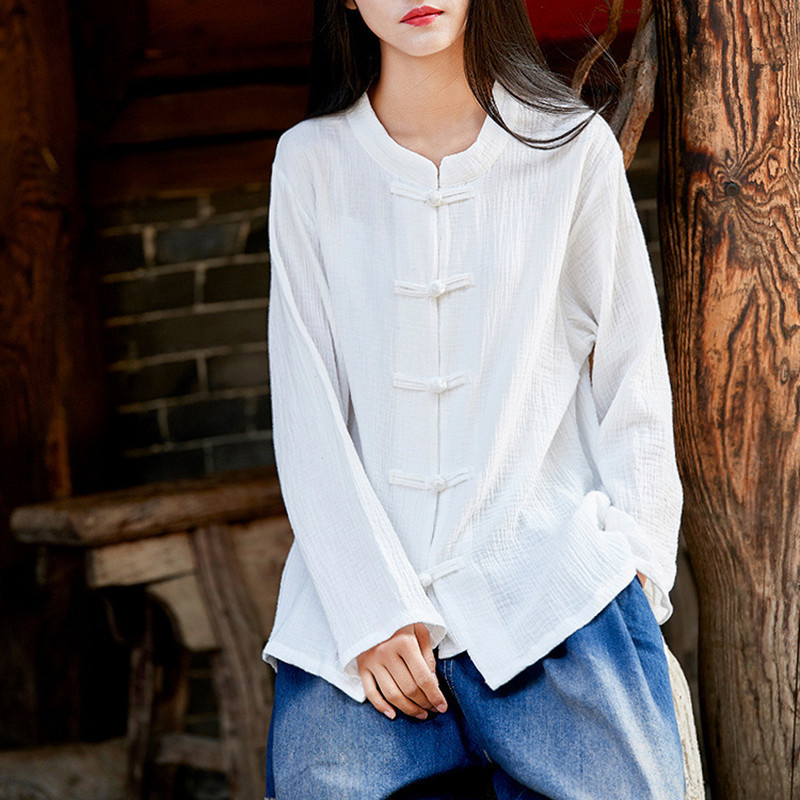 Completa 2018 Johnature azul Single Lino Tops blanco Mujeres De breasted rojo Cuello Camisas La Algodón Vintage Negro Manga Rebeca Sólido Color Primavera fw8AtnqwS