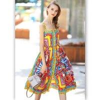 Fashion Spaghetti Strap print dress 2017 high quality designer Square Collar sexy Beach Casual Appliques dress