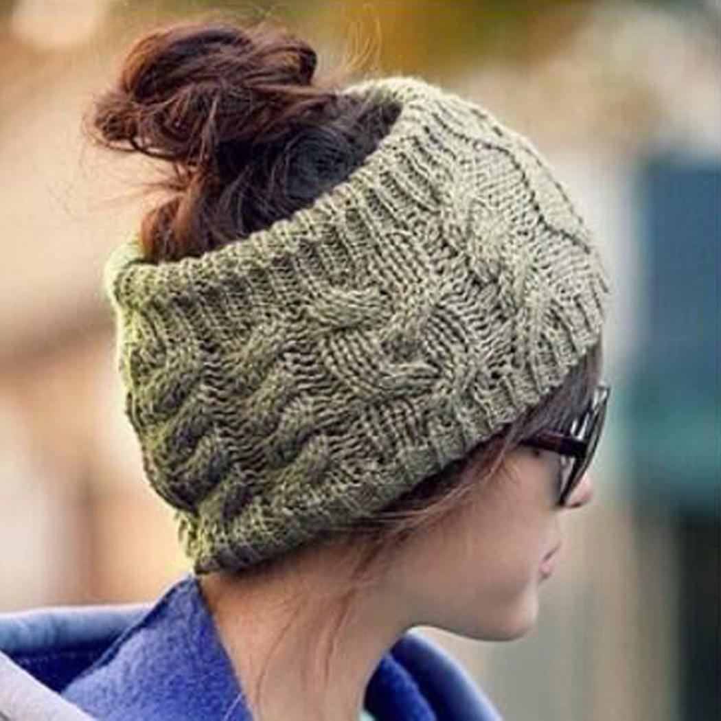 2018 Women   Skullies     Beanie   turban hat Knit Wool Head Wraps Casual   Beanies   Winter Ear Warmer Crochet Ponytail Hip hop Hat Bonnet