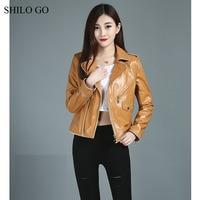 SHILO GO Leather Jacket Womens Autumn Fashion sheepskin genuine leather Jacket white edge lapel epaulet front zipper pocket coat