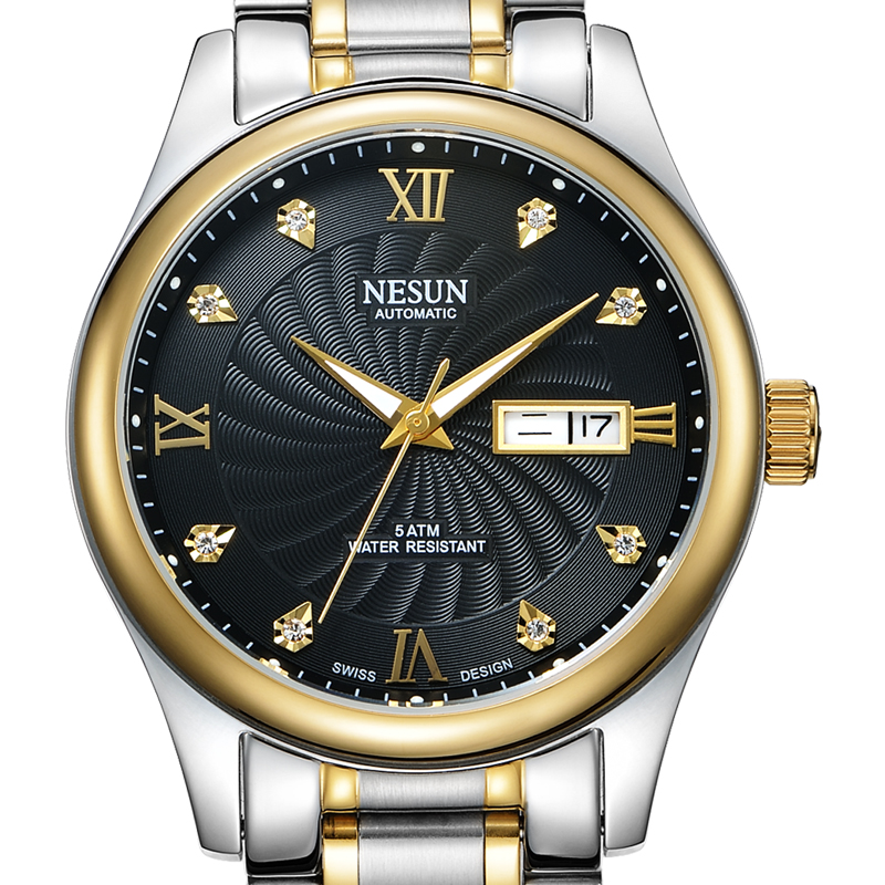 Switzerland Business Brand NESUN Watch Men Automatic Self-wind Men's Watches full Stainless Steel Waterproof clock N9123-7 seagull pvd with stainless steel self wind 3 hands exhibition back automatic men s business watch m149sk