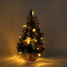 Xmas Luxury Tabletop Decoration 40cm Mini Christmas Potted Plant with LED Light String Christmas Tree for Home Bar Shop Decor