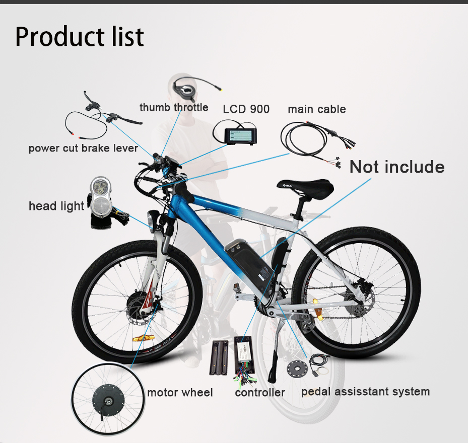 Perfect Free Shipping 36V 48V ebike Motor No Battery 250W 350W 500W 1000W Powerful Electric Bike kit LED LCD Display bldc controller MTB 3