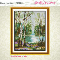 Beautiful View Of Lake Painting Counted Or Stampted Cross Stitch 11CT 14CT Cross Stitch Kits For