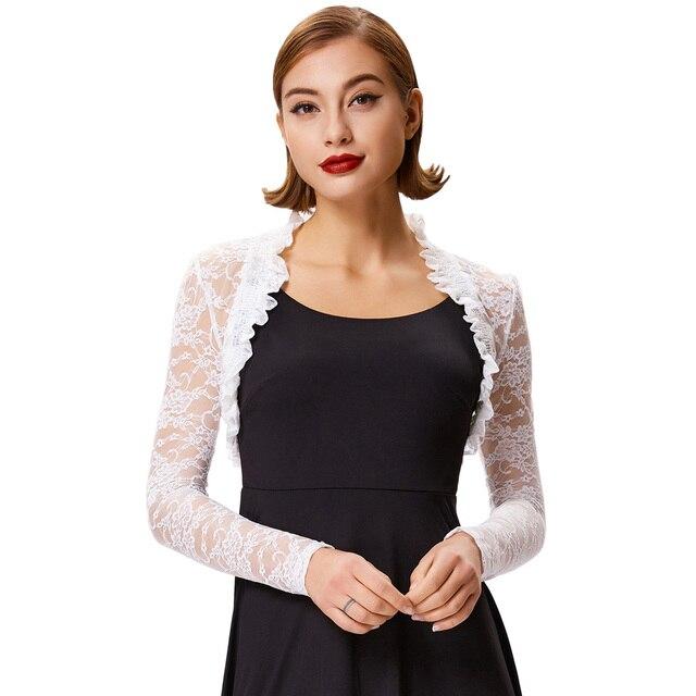 2018 Fashion Lace Bolero Womens Elegant Shrug Long Sleeve Sexy Black Wedding Evening Prom Cropped Shrugs Open Stitch Basic Coat