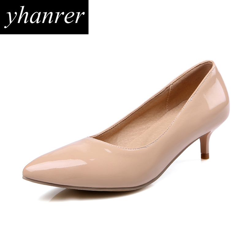 New Women's Kitten Heels Classic High Heels Pointed Toe Medium Heeled Pumps Lady Shoes big size 35-43 Y143