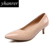 New Women S Kitten Heels Classic High Heels Pointed Toe Medium Heeled Pumps Lady Shoes Big