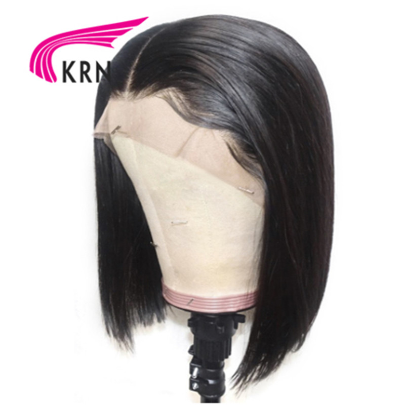 KRN Short Bob straight Wig 13x6 lace front Brazilian Human Hair Wigs remy hair With Pre